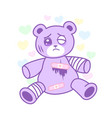 suffering bear toy with injured body yami kawaii vector image vector image