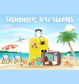 summer vacation with travel bag on sea sand beach vector image vector image