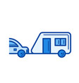 travel trailer line icon vector image vector image