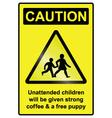 Unattended Children Hazard Sign vector image vector image