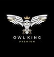 white owl king crown logo icon vector image vector image