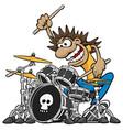 wild drummer playing drum set cartoon vector image vector image