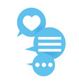 three blue icons with message and like vector image