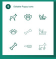 9 puppy icons vector image vector image