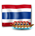 A boat with men near the flag of Thailand vector image