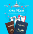 air travel banner with earth plane passport and vector image vector image