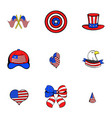 america icons set cartoon style vector image