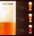 beer menu flyer template with realistic glasses of vector image vector image