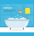 cartoon bathroom bathtub inside interior card vector image vector image