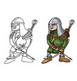 cartoon medieval archer with bow and arrows vector image