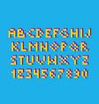 color pixel look retro video game font 80 s retro vector image