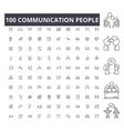 communication people line icons signs set vector image vector image