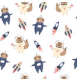 cosmic seamless pattern with cute foxes sloths vector image vector image