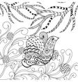 Cute bird in flower garden vector image vector image