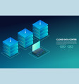data center isometric banner with laptop and vector image