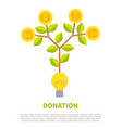 donation promotional emblem with money on tree vector image vector image