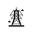 electric lines black icon sign on isolated vector image