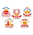 Fast food cafe and grill restaurant retro badges vector image vector image