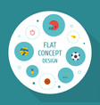 flat icons basket puck reward and other vector image vector image