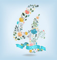 floral number four with blue ribbon vector image vector image