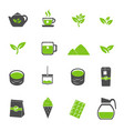 green tea icons set vector image vector image