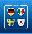 group f russian soccer event country flag list vector image