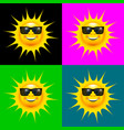 happy smiling sun with sun glasses set vector image