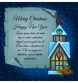 House candle holder and card for your text vector image