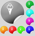 ice cream icon sign Set of eight multi colored vector image vector image