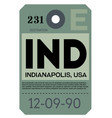 indianapolis airport luggage tag vector image vector image