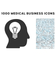 Intellect Bulb Icon with 1000 Medical Business vector image vector image