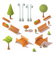 isometric park set benches trees wooden bridges vector image