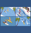 isometric scenes for surf school long wave palms vector image
