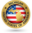 Michigan state gold label with state map vector image vector image