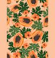 papaya fruits seamless pattern on pastel orange vector image