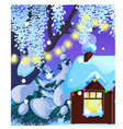 poster with cozy rustic small hunting lodge with vector image