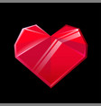 red crystal heart isolated on black background vector image