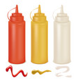 sauce set white red and yellow bottles vector image