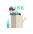scared manager standing at reception desk at bank vector image vector image