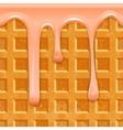 Seamless horizontal texture Belgian waffles with vector image