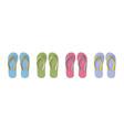 set colored flip flops - summer beach slippers vector image