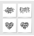 set of happy valentines day handwritten lettering vector image vector image