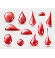 set red drops red water juice or wine vector image vector image