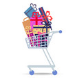 shopping trolley full of different purchases vector image vector image