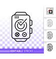 smart watch simple black line icon vector image vector image