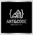 two pencil with coding symbol arrow up pen design vector image