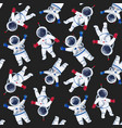 watercolor astronaut pattern vector image vector image