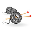 hand drawn sketch yarn ball with needles for vector image