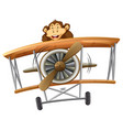 a monkey riding classic airplane vector image
