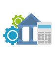 bank building with calculator and gears vector image vector image